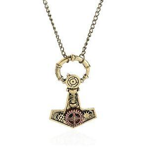 Zeit-Thor-Hammer-Mjolnir-Steampunk-Kette-Halskette-Zahnradchen-Panzerkette