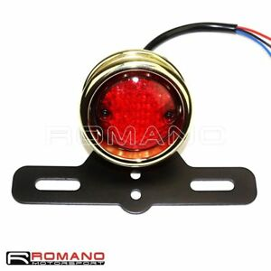 Motorcycle-Brass-Bezel-Brake-Stop-Taillght-Rear-Lamp-For-Harley-Davidson-Bobber