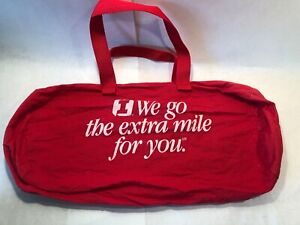 First Interstate Bank Red Cotton Promotional Duffel Bag Zippered + Dual Handles