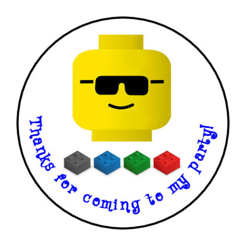 """30 Personalized LEGO Birthday Party stickers envelope seals 1.5/"""" round"""