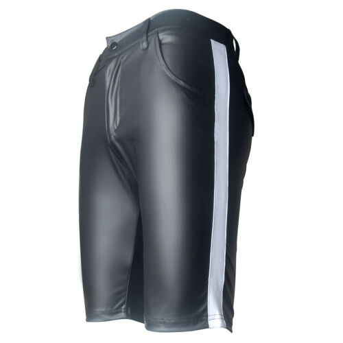 Men/'s Faux Leather Shorts With Pockets Clubwear Casual Middle Short Running Gym