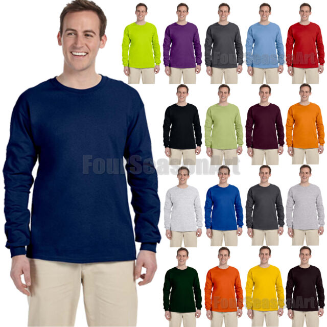 Gildan Mens Ultra Cotton Crewneck Long Sleeve T-Shirt S-5XL 2400-G240