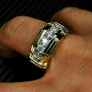 1 Ct Round Diamond 14K Two Tone Gold Over Five-Stone Mens Wedding Band Ring