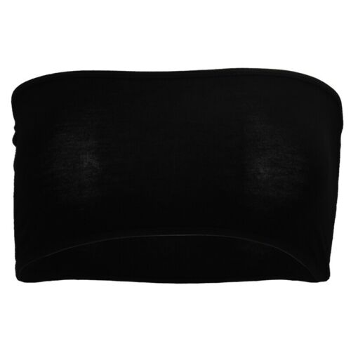 Reggiseno a fascia tubo bandeau senza bretelle elastico nero clubwear GILET D8T2