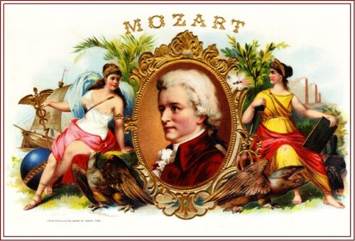 1918 Wolfgang Mozart Smoke Vintage Cigar Tobacco Box Crate Label Art Print