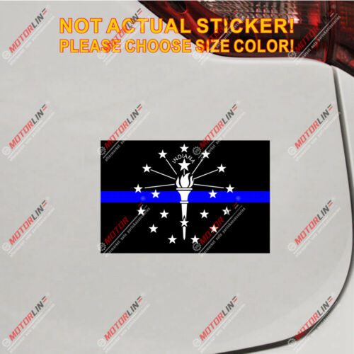 Indiana State Flag Thin Blue line Decal Sticker Car Vinyl reflective glossy
