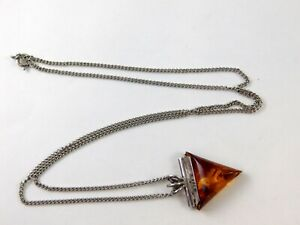 Simulated-Amber-Triangle-Pendant-Necklace-Silvertone-Unmarked-Metal-24-5-Inches