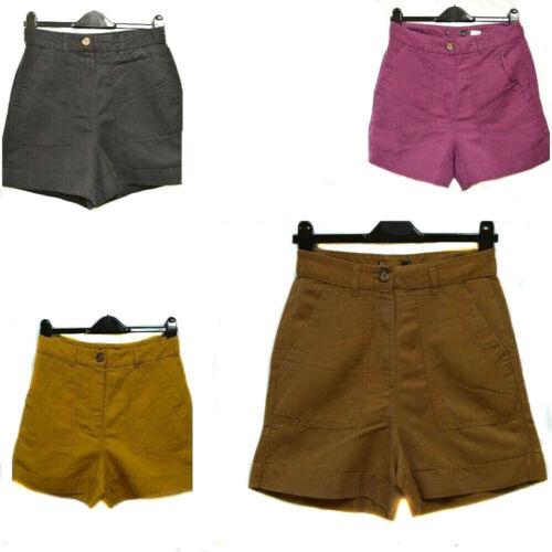 New M*S Black Purple Brown Yellow Linen Blend Ladies Shorts 6-18
