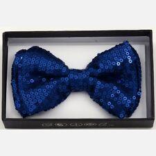 UNISEX PRETIED BOWTIE WEDDING TUXEDO SPARKLY BOW TIE ~ ROYAL BLUE SEQUINS BOT508