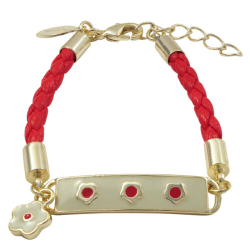 Gold Finish Ivory Enamel Bar with Red Flowers Bracelet 6/'/' with 1/'/' Extender