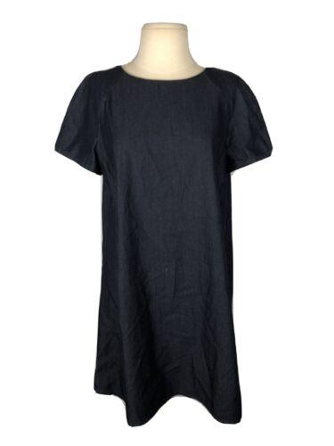Zara Basic Denim Dark Wash Swing Dress, Size L - image 1