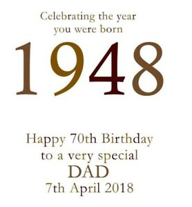 Image Is Loading 70th 1948 Year You Were Born Birthday Card