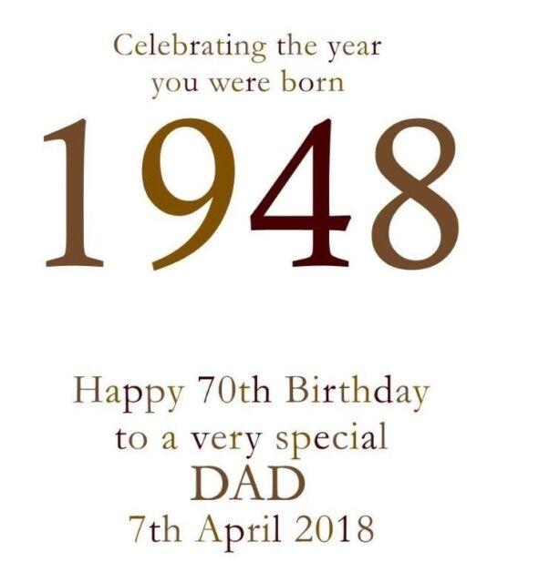 70th 1948 Year You Were Born Birthday Card Personalised Dad Gramp