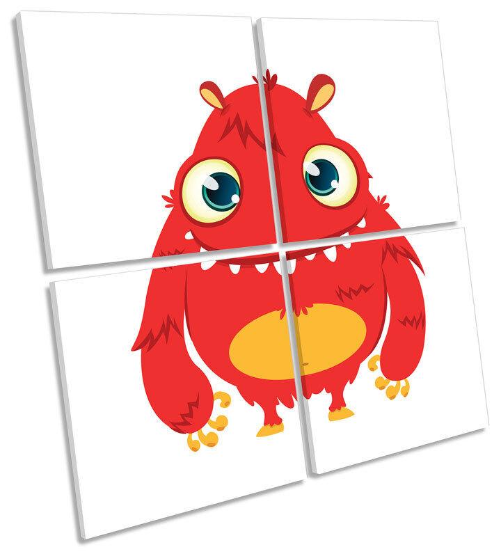 Lindo rojos de monstruo Niños Habitación Lona Pared Arte Cuadrado de de impresión de Cuadrado múltiples 801de6