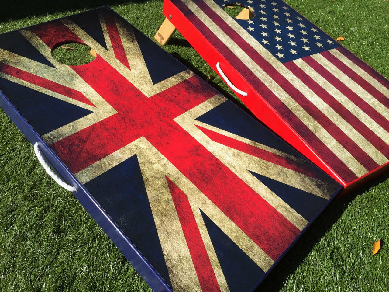 American and UK Flag Cornhole Boards