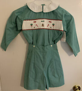 Boys-Strasburg-Size-5-Smocked-Button-On-Green-Gingerbread-Christmas-Holiday