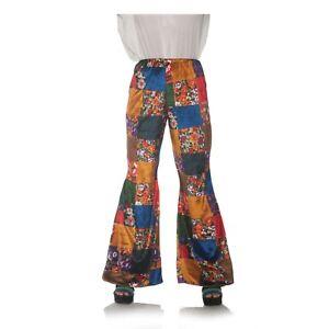 Women-039-s-70-039-s-Disco-Gypsy-Hippie-Patchwork-Halloween-Costume-Bell-Bottom-Pants-XS