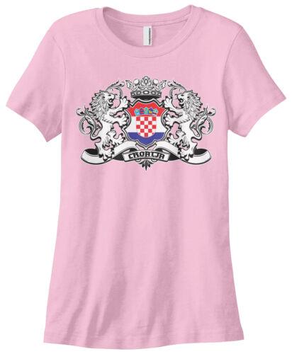 Threadrock Women/'s Croatia Lion Crest Flag T-shirt Croatian Shield