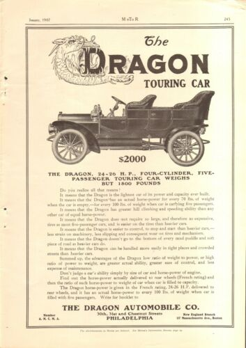1907 DRAGON TOURING CAR VINTAGE ORIGINAL AD