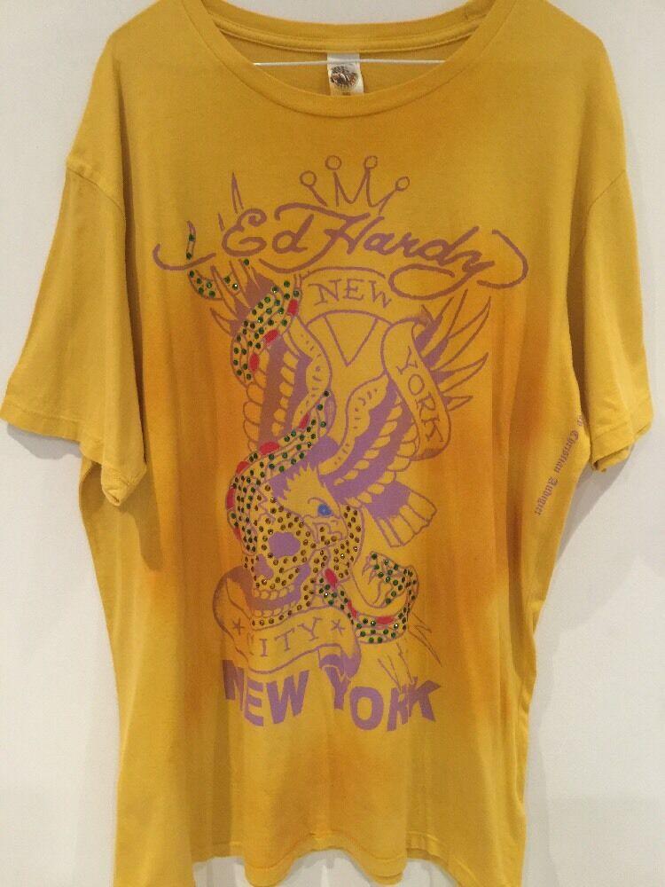 Ed Hardy Yellow Tee Shirt XL