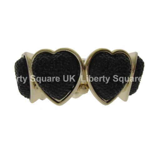 Lightweight Chunky Black and Gold Stretchy Love Heart Statement Bracelet  #413