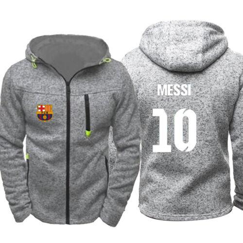 Lionel Messi Logo Barca 10 Mens Thin Hoodie Zipper Coat Jacket Sweatshirt Tops N