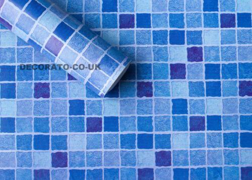 Bleu à Carreaux Vinyl PVC STICKY DOS PLASTIQUE CUISINE Fablon Carrelage Mosaïque Autocollant UK