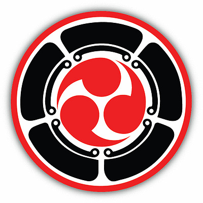 "Mitsu Tomoe Japanese Triad Symbol Martial Arts Car Bumper Sticker Decal 5"" x 5"""
