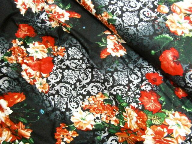 EDEL Jersey ,Viskose, Meterware,Kleiderstoff,Schwarz, Rot, Multicolor