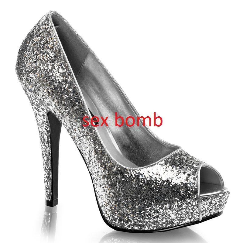 SEXY scarpe decolte argentoO glitter  plateau spluntate tacco 13 n. 38 GLAMOUR  liquidazione