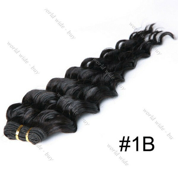 """3 Bundles Deep Wave Wavy Curly Long 100% Remy Human Hair Extensions 18"""" 150g"""