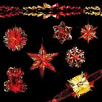 Christmas Foil Ceiling Decorations Garlands Stars Snowflakes – Red & Gold