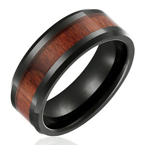 8mm-Band-Ring-Tungsten-Steel-Wood-Couple-Men-039-s-Stainless-Steel-Silver-Inlaid
