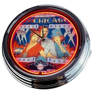 """N-0513 Wall Clock """" Pinball Old Chicago Bally 1975 """" Neon Living Room Watch Game"""