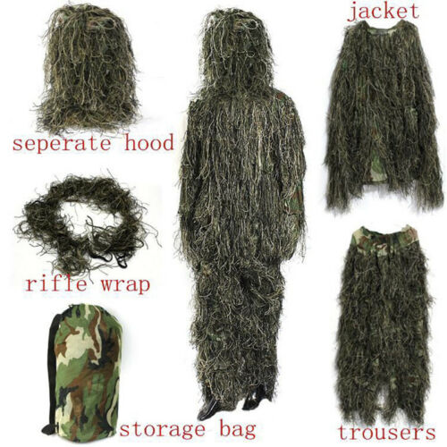 ghillie Suit CS Camouflage Suits Set Hunting Disguise Uniform Hunting Cloth C CR