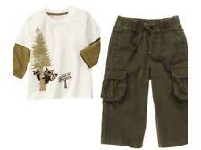 Gymboree Wilderness Club 18-24 mo Raccoon Top & Cargo Pant Set Olive Green