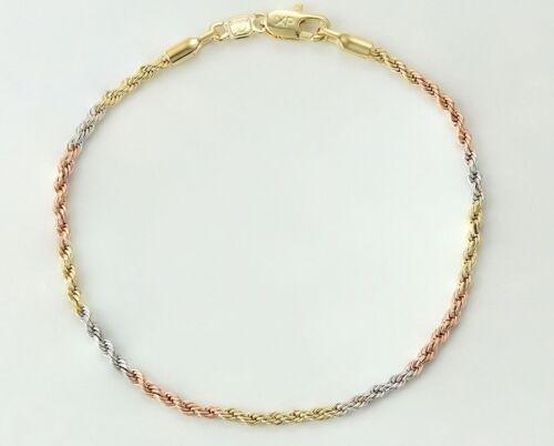 "9ct 9k Gold Filled Prom Ladies 2mm Twisted bracelet 7/""  Xmas Birthday  b315m"