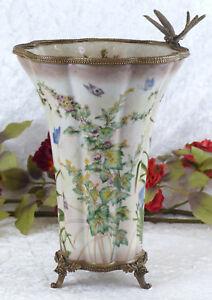 Porzellanvase-Jugendstil-Prunkgefaess-Porzellan-Bronze-Vase-Antik-Amphore-Libelle