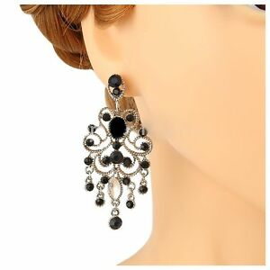 Image Is Loading Austrian Crystal Black And Silver Chandelier Earrings Bridal