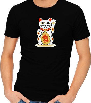 Maneki-neko Lucky Cat Asian Good Luck Adult T-shirt Tshirt Tee