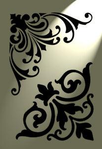2-Disenos-de-plantilla-de-esquina-florecer-Shabby-Chic-Vintage-A4-Damasco-Muebles-Franceses