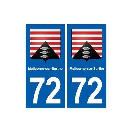 72 Malicorne-sur-Sarthe blason autocollant plaque stickers ville arrondis