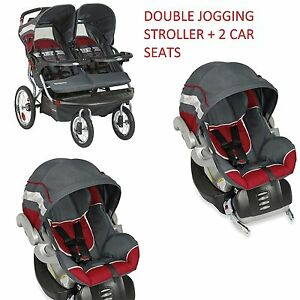 NEW Baby Trend Double Jogging Stroller with 2 Car Seats ...