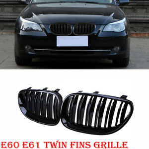 Double Line Black Front Kidney Grilles New For BMW E60//E61 5-Series M5 03-2010
