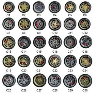 CERCHI-in-lega-scala-1-64-CON-FRENI-A-DISCO-C1-C30-Diecast-GOMMA-GOMME-Accessori