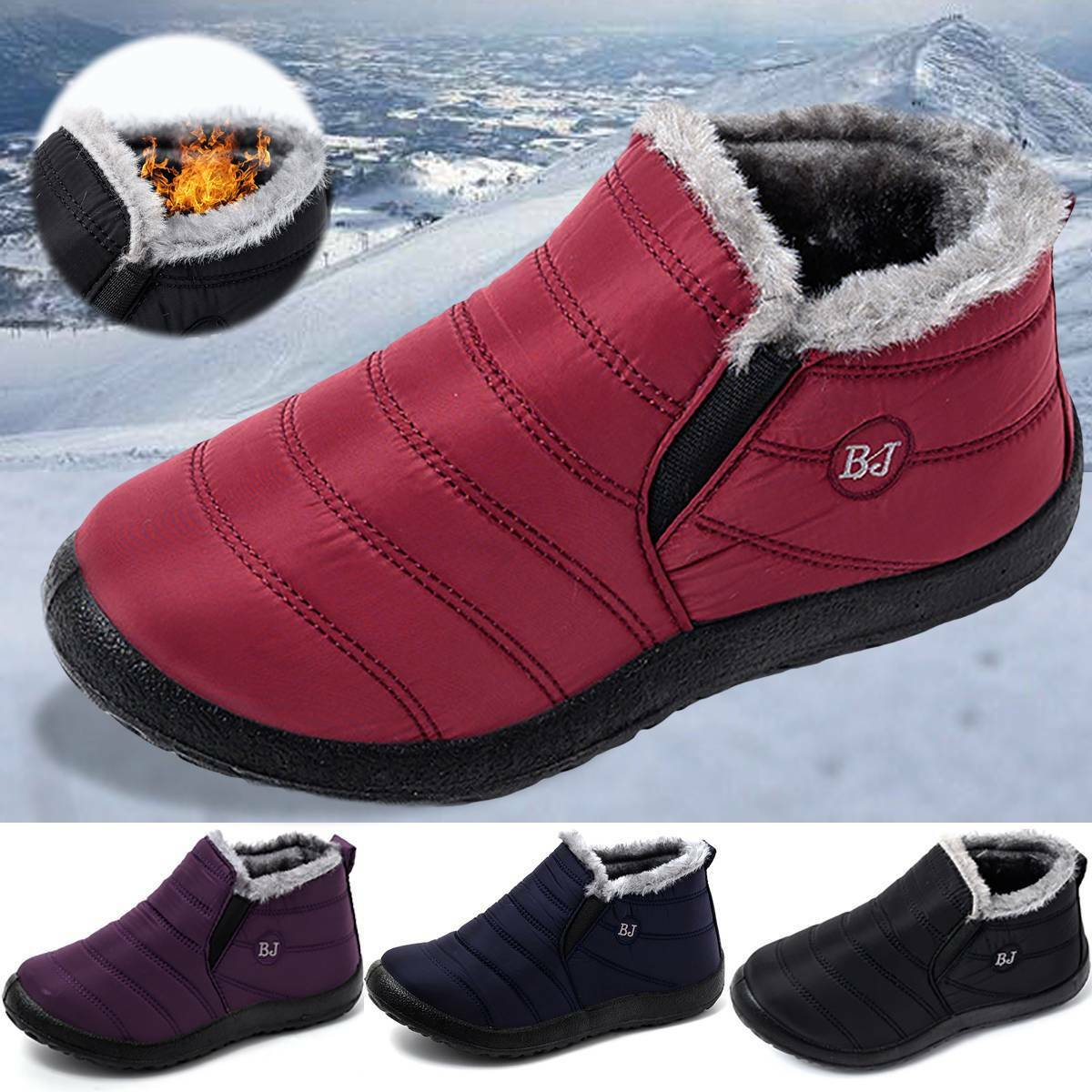 Mens Lined Snow Boots Warm Shoes