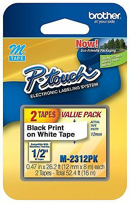 """1/2"""" M-231 M-2312pk 2-pack Genuine Brother 2-pack M231-2pk P-touch Label Tape"""