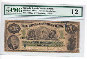 1865-Royal-Canadian-Bank-1-Banknote-Toronto-Canada-West-PMG-Graded-F-12