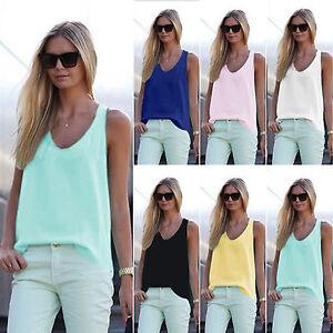 Damen-Tops-Tanktop-Sommeri-Bluse-Traegertop-Weste-Shirts-Hemd-Oberteil-S-3XL