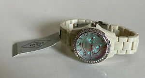 NEW-FOSSIL-RILEY-COLLECTION-GREEN-CRYSTAL-DIAL-WHITE-ACETATE-BRACELET-WATCH-115